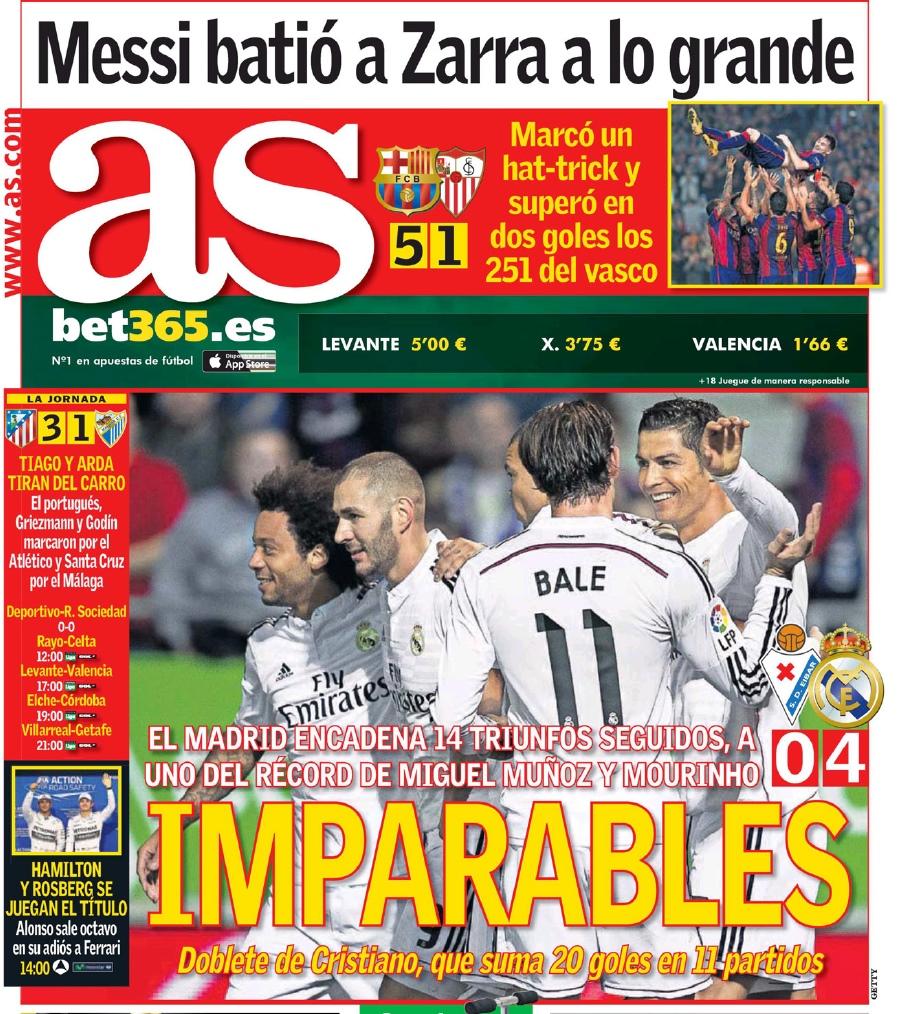 Обложка газеты AS от 23 ноября 2014 года: Криштиану Роналду уже забил 20 голов