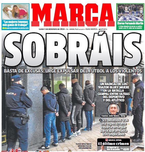 Обложка газеты Marca от 1 декабря 2014 года